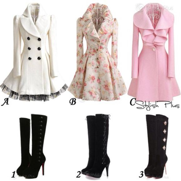 coat shoes pink cute peplum white floral black lace boots knee high boots