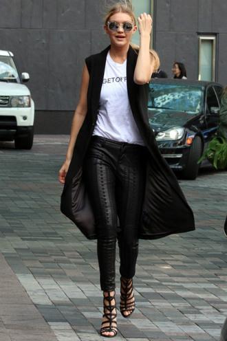 coat top vest pants sandals gigi hadid sunglasses t-shirt shoes