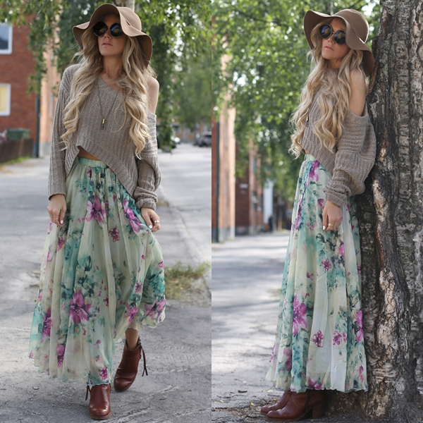 and Frill Maxi Skirt - Retro, Indie and Unique Fashion