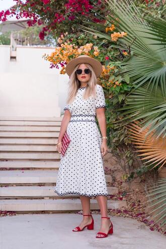 suburban faux-pas blogger dress hat sunglasses bag shoes jewels red sandals sandals midi dress clutch white dress