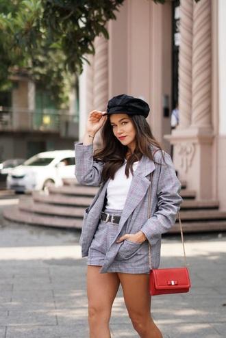shorts grey shorts blazer grey blazer matching set hat bag two-piece