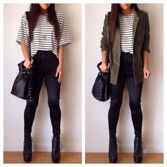 shirt black white green stripes shoes necklace owl bag pants jacket blouse coat