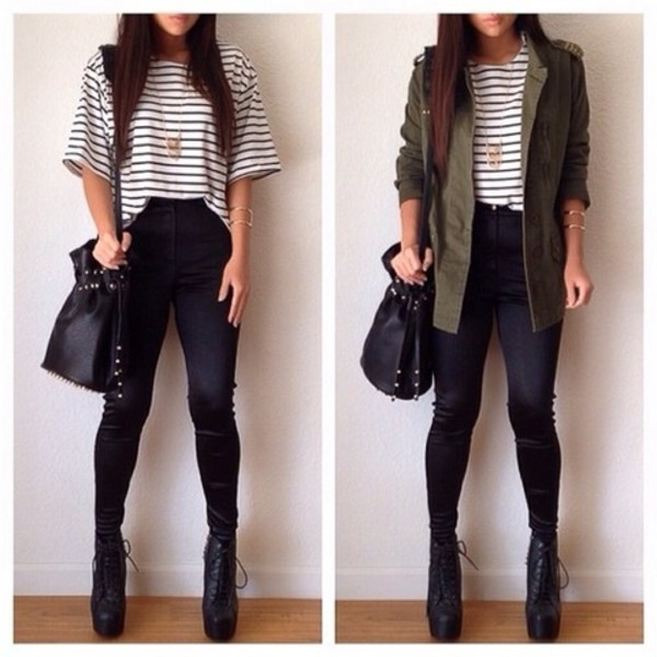 shirt black white green stripes shoes necklace owl bag pants jacket coat blouse skirt stripped shirt jeans