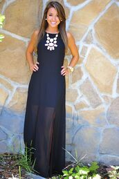 dress,jewels,black,beautiful,long dress,necklace,navy maxi dress,summer dress,maxi dress,black sheer dress