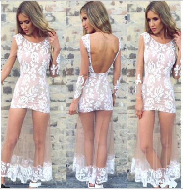 Cute long sleeve dress sexy see