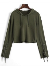 sweater,girly,green,olive green,crop,cropped,cropped sweater,hoodie,lace up