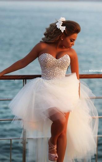 dress white beaded dress tulle dress asymmetrical dress high low prom dresses high low dress