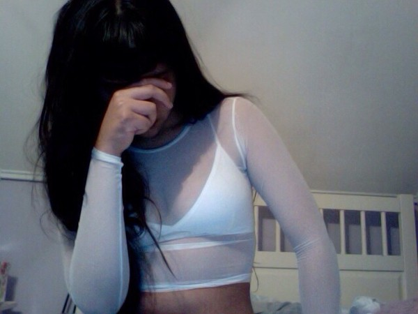 shirt white see through white long top tank top bra crop tops long sleeves mesh t-shirt grunge blouse top