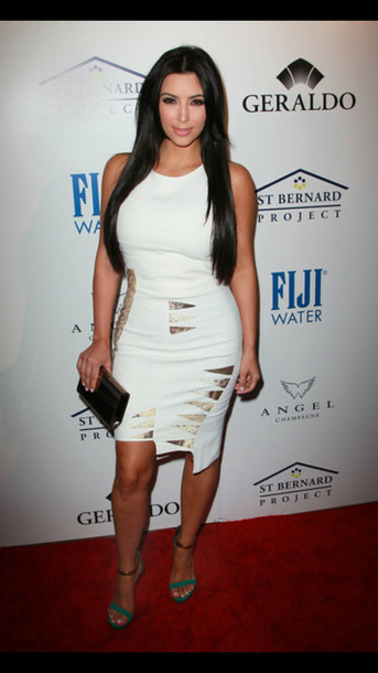 Dress: shoes kim kardashian green high heels white dress high