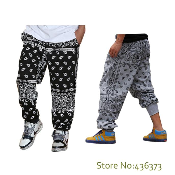 Plus size xxxl fashion street loose style mens hip hop bandana pants harem pants trousers men//gray black [ oo mint ]