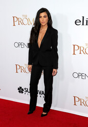 jacket,blazer,plunge v neck,all black everything,pants,suit,kardashians,kourtney kardashian