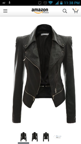 jacket faux leather jacket black women faux rider motorcycle zip leather jacket black jacket leather power shoulder