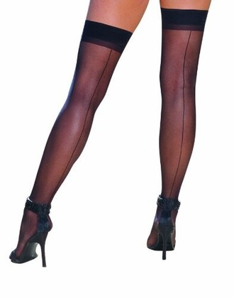 tights thigh highs black line up back lace bands