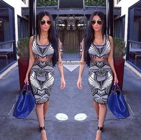 dress skirt crop tops two-piece midi skirt black and white dress black and white sexy