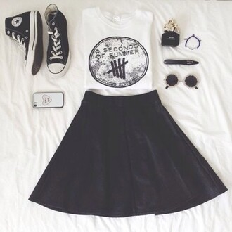 high top converse converse black skirt 5 seconds of summer band band merch band t-shirt round sunglasses outfit festival graphic tee 5sos tees 5sos merch phone cover black sneakers black converse black and white shirt white t-shirt 5 sos shirt black white skater skirt i guess idk skirt this black skirt