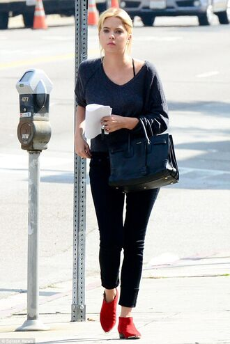 shoes ashley benson celebrity style celebrity actress red boots boots ankle boots flat boots jeans black jeans sweater grey sweater bag black bag handbag