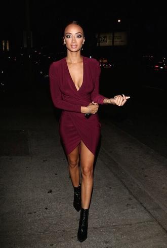 burgundy celebrity style burgundy dress wrap dress dress cute dress sexy dress elegant