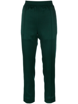 cropped women classic cotton green pants