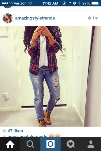 shoes brown combat boots jeans shirt jacket