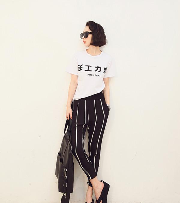 t-shirt t-shirt top japanse chinese summer print minimalist off fuck off