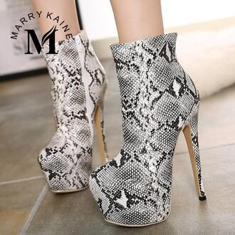 shoes boots sexy snake print ankle boots classy stilettos zaful night edgy stylish