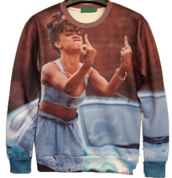 sweater rihanna crewneck sweatshirt