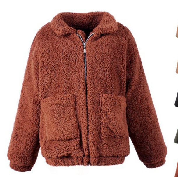 coat girly brown fur fur coat fur jacket zip teddy bear coat