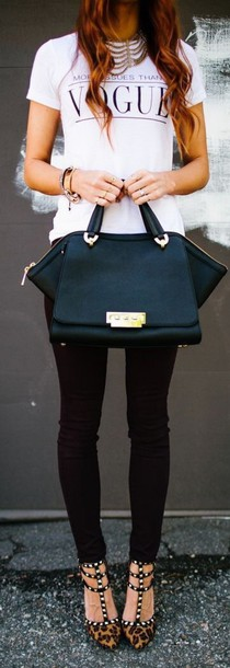 shirt bag black black bag purse vogue white chic black bag with front pocket and gold trim