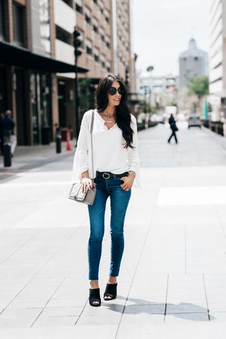 brittanymaddux blogger top jeans bag shoes belt sunglasses jewels