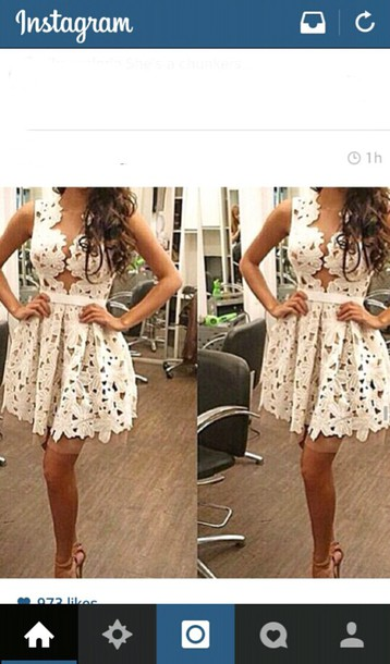 dress summer dress crochet white lace dress mynystyle white dress lace lace dress skater dress trendy sleeveless girly