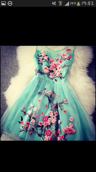 turquoise flowers dress blossom teal semi dress pastel blue dress floral floral dress