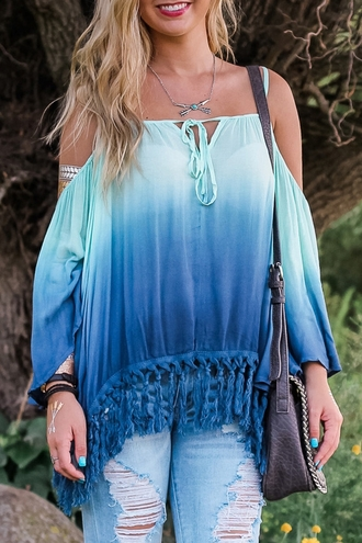top ombre blue fashion gradient long sleeves long sleeve ombre color loose blouse summer boho gypsy off the shoulder trendy