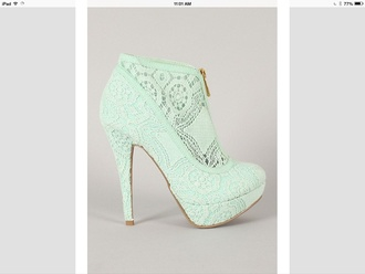 shoes turquoise ankle boots heel vintage lace mint green shoes zip-up high heels booties shoes mint lace up heels gold zipper heels sexy pumps feminine turquoise heels crochet heels cute heel blue green
