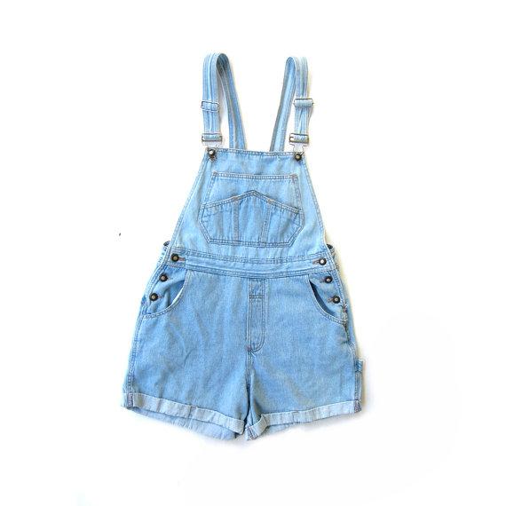 Vintage women's denim blue overalls with short by shopbadlands
