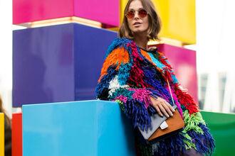 coat jacket colorful fashion week streetstyle