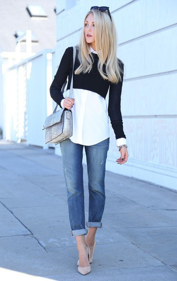 jeans black blouse white pointed toe heels bag snake print sliver women bags sunglasses