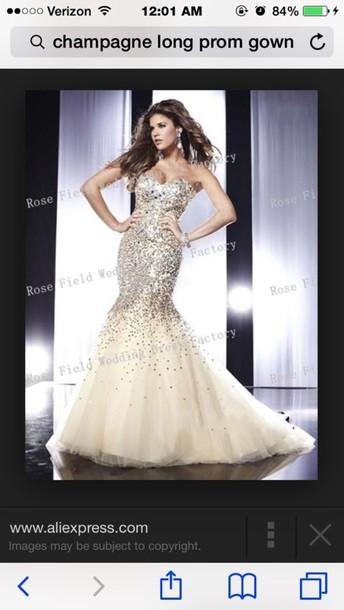 dress champagne prom dress