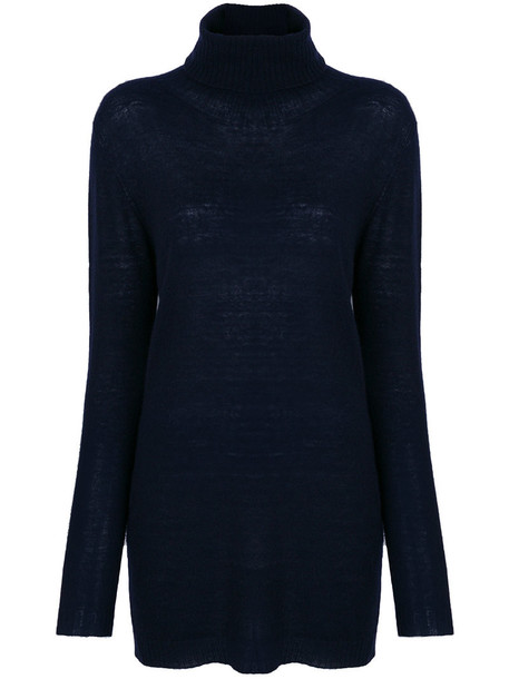 Woolrich jumper turtleneck women blue wool sweater