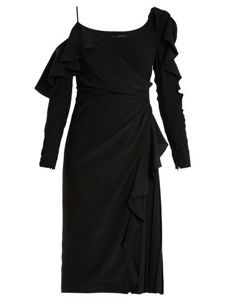 VERSACE dress open ruffle black