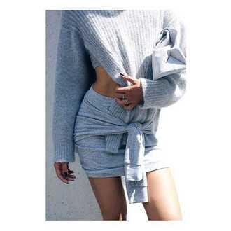 skirt tie front mini skirt gray