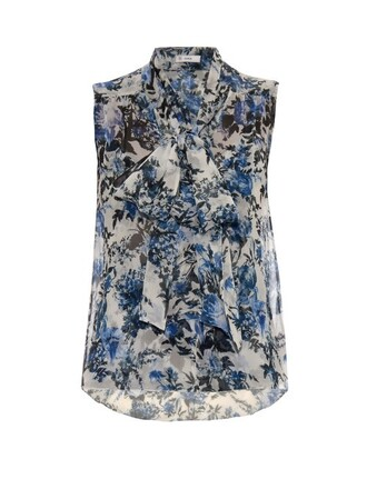 top print silk white blue