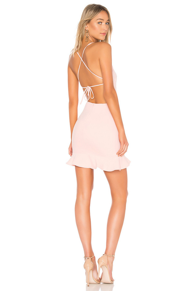 About Us Darlah Tie Back Frill Dress in pink