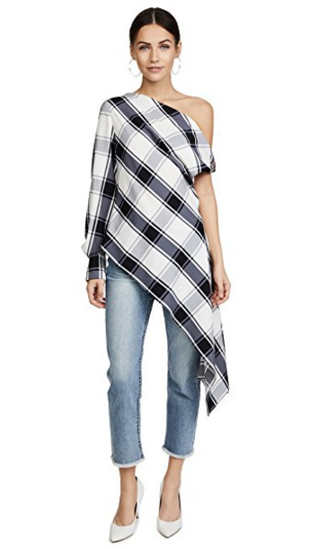 blouse plaid white black top