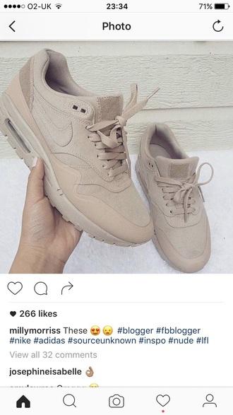 nike shoes sneakers nike air max 1 nude sneakers nike sneakers