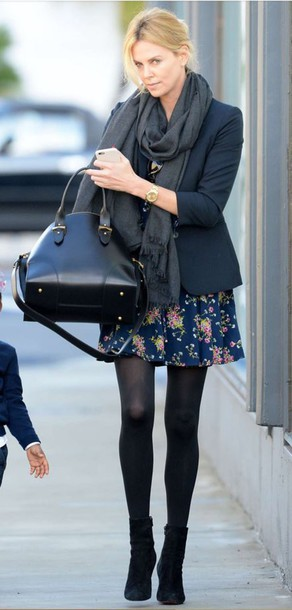 boots, charlize theron, fall outfits, floral dress, dress