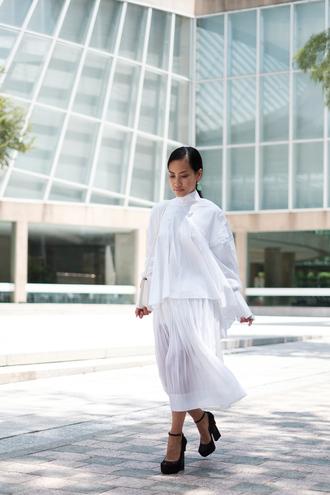 shirt tumblr white shirt skirt midi skirt white skirt pleated pleated skirt sandals sandal heels high heel sandals black sandals shoes