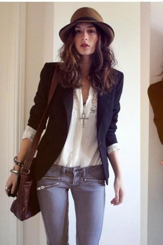 pants grey jeans jacket zip