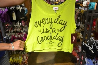 shirt neon beach tank tank top neon yellow neon top