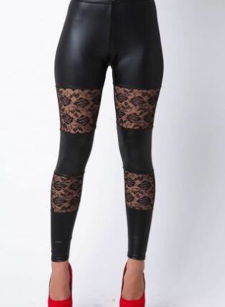 Pants: tights, lace, black leather pants, black leggings, black ...