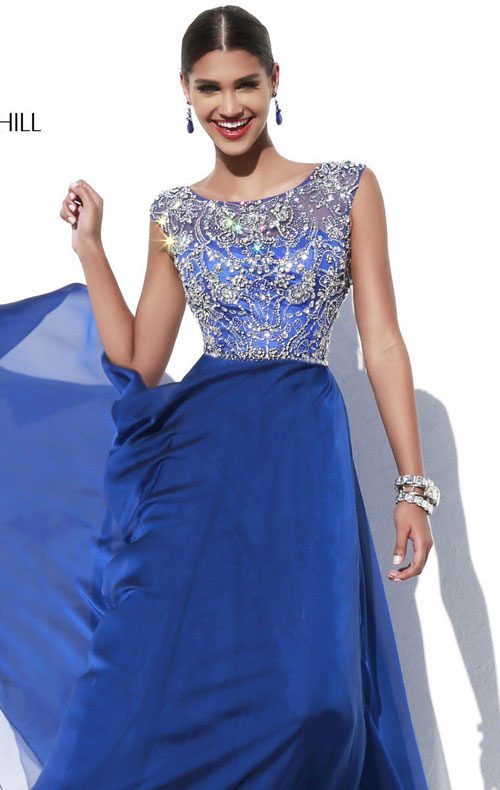 Beaded Embellished Long Chiffon Navy Prom Dress SH32017 Sherri Hill